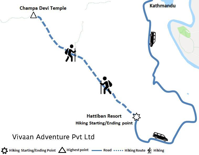 Champa Devi Hiking Map